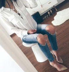 fashionn-enthusiast:  Lace Up BlousePantsPumps