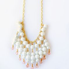 Pearls are classically elegant, so make this White Waterfall Pearl Necklace to add some grace to your outfits. This beautiful and sophisticated DIY necklace has a simplicity that gives it more charm and dimension than most statement pieces have.