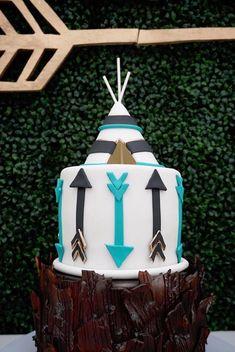"""Boho teepee cake from a """"Wild One"""" Bohemian Birthday Party on Kara's Party Ideas. Bohemian Birthday Party, Wild One Birthday Party, Twin Birthday, First Birthday Cakes, Boy Birthday Parties, Birthday Ideas, Bohemian Party, 13th Birthday, Teepee Party"""