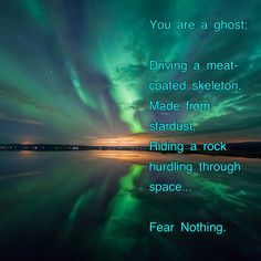 You are a ghost; riding a meat-coated skeleton made from stardust... Fear nothing.  Love it.