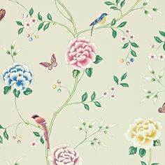 Pavilion Wallpaper by Sanderson Floral Print Wallpaper, Botanical Wallpaper, Flower Wallpaper, Floral Prints, Wallpaper Stores, Room Wallpaper, Cole Son, Gaston Y Daniela, Richmond Hill