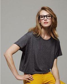 Bella- Crewneck Boxy Cropped T-Shirt-8881-Plain Basic Cheap Discount Blank Wholesale Ladies Short Sleeve Tee or T-Shirt In Bulk
