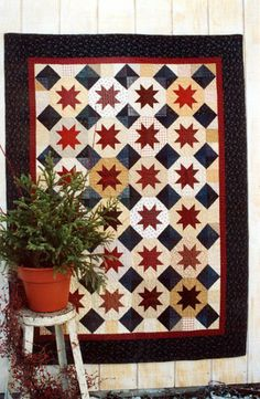 Country Threads :: Rotary Cut and Pieced Quilt Patterns :: Stars On Parade Quilt Pattern