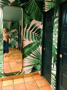 Market Trends: Texture, Warmth and Saturated Color - Juniper Home - Pink and green palm-print wallpaper -