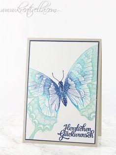 Glückwunschkarte Schmetterling | Swallowtail | sponged | Farbverlauf | clear embossing | Stampin' Up!