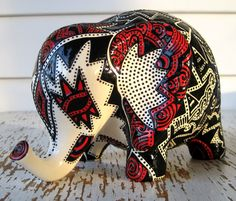 Lucky Elephant Bank -- White, Red and Black Embossed