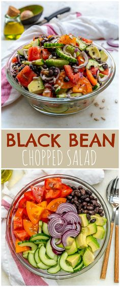 This Avocado + Black Bean Salad is the BEST Ever! – Clean Food Crush Source by cafesucrefarine Healthy Salads, Healthy Cooking, Healthy Eating, Kale Salads, Cooking Fish, Cooking Turkey, Healthy Foods, Real Food Recipes, Healthy Recipes
