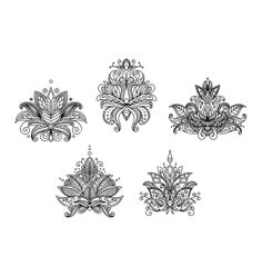 Turkish indian and persian paisley floral motifs vector Lotus henna tattoo by Seamartini on VectorStock®