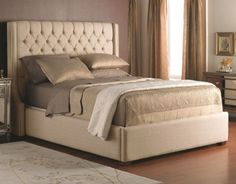 Decor-Rest - Lit crème capitonné - Cream tufted bed