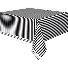 "Black Striped Plastic Table Cover, 108"" x 54"" - Walmart.com - purchase link"