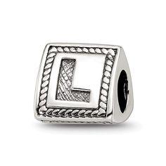 Choruslove English Letter Initial A-Z Alphabet Charm 925 Sterling Silver Bead for 3mm European Bracelet Bangle L