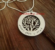 Stainless steel tree and washer. Hand stamped with loved ones names or your favourite quote. www.facebook.com/bewitchingjewels