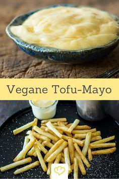 Mayonnaise ohne Ei - dafür aber mit Seidentofu Mayo Vegan, Vegan Keto Recipes, Vegan Food, Macaroni And Cheese, Low Carb, Dairy Free, Nom Nom, Dips, Veggies
