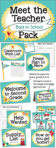 #MeetTheTeacher pack for #BackToSchool - Includes posters, signs, forms, and more for every grade K-6