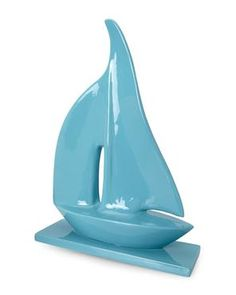 "22"" Turquoise Ceramic Sailboat"
