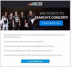 """Peluang menang ticket konsert Search """"Panggung Khayalan"""" 24hb Oktober untuk user premium Deezer. #KonsertSearch #PanggungKhayalan"""