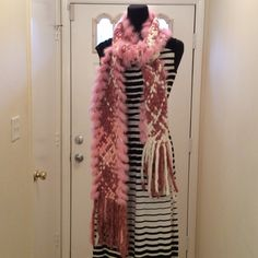 Pink, white, scarf  A beautiful scarf with 100% rabbit fur a long the outer edges so soft and very long 1 yard and 29 inches long width is 7 inches Accessories Scarves & Wraps