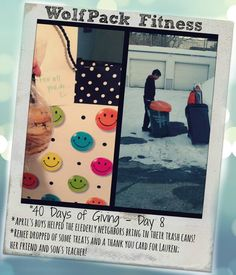 April's boys helped the neighbors bring in their trash cans. Renee gave a thank you card/treats to Lauren - her friend and son's teacher!  #40daysofgiving