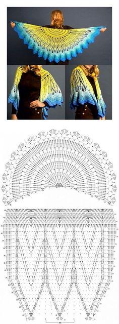 Hottest Totally Free Knit crochet shawl Thoughts Toller Schal am Haken , Poncho Crochet, Crochet Shawl Diagram, Crochet Chart, Knitted Shawls, Crochet Scarves, Crochet Motif, Crochet Clothes, Crochet Stitches, Crochet Hooks