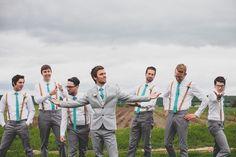 Ashley Taylor's Rustic Farm Wedding Part One, Lawrence, KS Wedding Photographers » Gracenote Photography peach, teal, turquoise, salmon, photos, wedding, farm, barn, rustic, groomsmen, groom, suspenders, outdoor, wedding party, ideas, posing, inspiration, ties, grey pants, fun