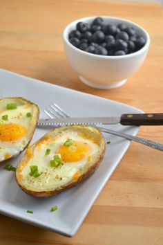 Baked Eggs in Potato Skins [sub the cheese with cashew cheese!]