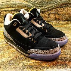 152bd4e4b910 The Air Jordan 3 feature Black nubuck across the uppers and Safari print  wraps the toe and heel.