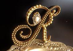Gold Pearl Wedding Cake Topper Monogram by ParisBakeryPretties, $65.00