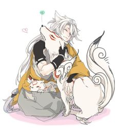 Kogitsunemaru from Touken Ranbu and Amaterasu from Okami Hot Anime Guys, Cute Anime Boy, Anime Love, Touken Ranbu, Manga Boy, Manga Anime, Anime Sword, Manga Japan, Anime Style