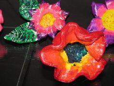 3rd grade clay flower sculpture  Lesson designed by Susan Joe (Steiner Ranch Elementary Art Teacher)