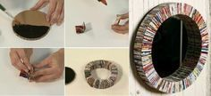 cuadros con papel reciclado1 Ideas para realizar marcos y espejos