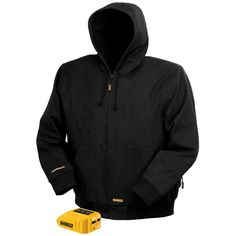 DEWALT Unisex 3X-Large Black 20-Volt/12-Volt MAX Heated Hooded Work Jacket