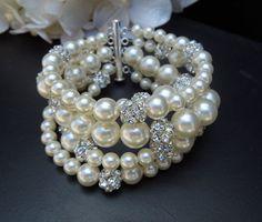 Bridal Bracelet,Ivory Swarovski Pearls,Statement Bridal Bracelet,Cuff,Pearl Bridal Bracelet,Bridal Rhinestone Bracelet, Pearl,Cuff,Cheyenne
