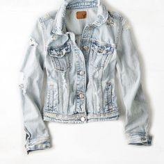 AEO Light Destroyed Denim Jacket (Coat) featuring polyvore, women's fashion, clothing, outerwear, jackets, tops, denim, light wash, american eagle outfitters jacket, jean jacket, denim jacket, american eagle outfitters and distressed jean jacket