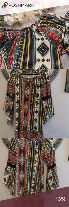 Beautiful Boho Print Off Shoulder Top Brand New 92 % Polyester 2% Spandex Pit to pit 19, L 25, Sleeve 18 Expandable shoulder band. Bell sleeve. Boho geometric print.  Price negotiable. Can lower price to help shipping. For offers, please be reminded of Posh fee. Thanks for understanding! Tops Blouses
