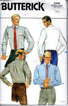 888d2861ce3 Men s Business or Casual Tapered Dress Shirt Vintage Sewing Pattern Bust  40