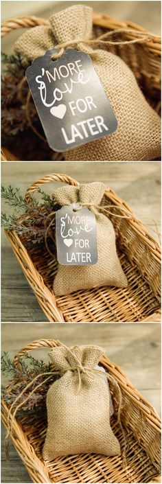 country rustic burlap wedding favor bags with chalkboard tags @elegantwinvites