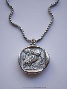""" NEW "" Sterling Silver Athena's Owl Tetradrachm Coin Pendant Necklace $113.25 . onesilversmith art studio . new york"