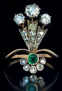 Antique 14k Gold, Diamond Annd Emerald Belle Epoque Plume-Shaped Ring Handcrafted In St. Petersburg  c. 1890
