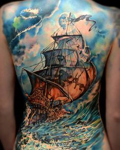 Colored boat full back tattoo - 100 Boat Tattoo Designs