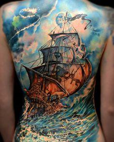 Colored boat full back tattoo - 100 Boat Tattoo Designs