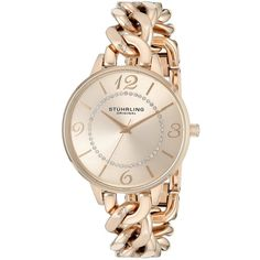 Stuhrling Original.05 Vogue Analog Display Quartz Rose Gold Watch ($131) ❤ liked on Polyvore featuring jewelry, watches, stuhrling watches, quartz wrist watch, bracelet watch, red gold jewelry and analog watches