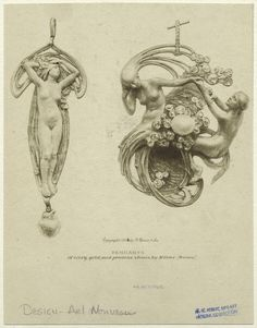 Pendants Of Ivory, Gold And Precious Stones, By M. [Sic] Vever (France). From New York Public Library Digital Collections.