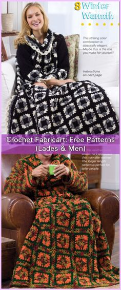Crochet Women & Men Granny Square Snuggle Up Blankets With Sleeves Free Patterns