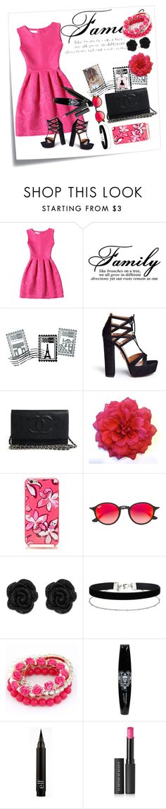 """""""Pinky time """" by meowoo ❤ liked on Polyvore featuring Post-It, Dot & Bo, Aquazzura, Kate Spade, Ray-Ban, Miss Selfridge and Le Métier de Beauté"""