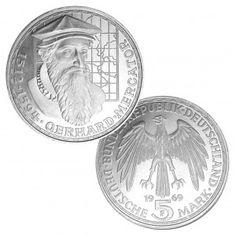 BRD 5 DM 1969 375. Todestag Gerhard Mercator, 625er Silber, 11,2g, Ø 29mm, Prägestätte F (Stuttgart), Jaeger-Nr. 400, Auflage: 4.804.000 (PP: 200.000)