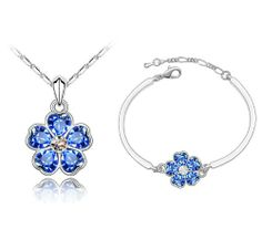 CRYSTALLIZED™ Element Crystal Jewelry Sets bracelet necklace with Zinc Alloy with extender chain Flower platinum plated royal blue Approx Inch Approx Inc,china wholesale jewelry beads Rose Necklace, Pendant Necklace, Engagement Jewelry, Wedding Engagement, Beaded Jewelry, Crystal Jewelry, Semi Precious Beads, Austrian Crystal, Wholesale Jewelry