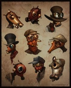 Steampunk Concept Art by Nathan Geppert Steampunk Drawing, Steampunk Kunst, Victorian Steampunk, Steampunk Gas Mask, Character Design Cartoon, Character Design References, Character Design Inspiration, Character Concept, Character Art