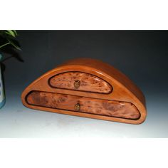 Redwood Burl on Cherry Two Drawer Handmade Wood Jewelry Box, Small... ($98) ❤ liked on Polyvore featuring home, home decor, jewelry storage, burl wood jewelry box, handcrafted wooden jewelry boxes, handcrafted wood jewelry boxes, wooden jewellery box and