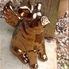 Harry the Flying Pig Sculpture Art, Sculptures, Pig Stuff, Flying Pig, Auntie, Pigs, Burlap, Cart, Chrome