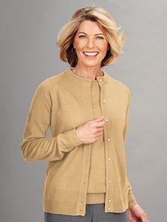 Cashmere-Soft Cardigan Sweater - Fine gauge shape keeping rib trim. Soft jersey…